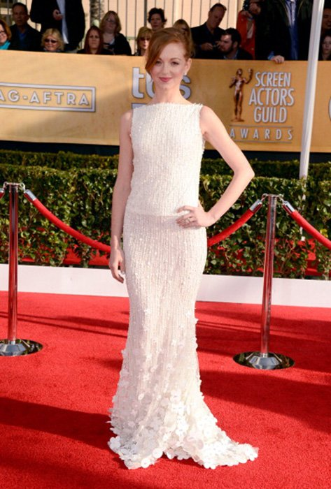 LOS ANGELES, CA - JANUARY 27:  Actress Jayma Mays arrives at the 19th Annual Screen Actors Guild Awards held at The Shrine Auditorium on January 27, 2013 in Los Angeles, California.  (Photo by Frazer Harrison/Getty Images)