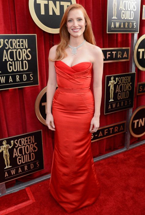 LOS ANGELES, CA - JANUARY 27:  Actress Jessica Chastain arrives at the 19th Annual Screen Actors Guild Awards held at The Shrine Auditorium on January 27, 2013 in Los Angeles, California.  (Photo by Kevork Djansezian/Getty Images)
