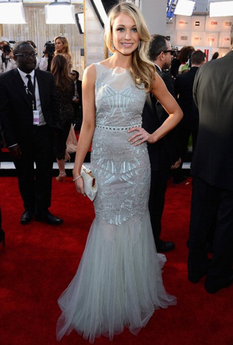 LOS ANGELES, CA - JANUARY 27:  Actress Katrina Bowden arrives at the 19th Annual Screen Actors Guild Awards held at The Shrine Auditorium on January 27, 2013 in Los Angeles, California.  (Photo by Kevork Djansezian/Getty Images)