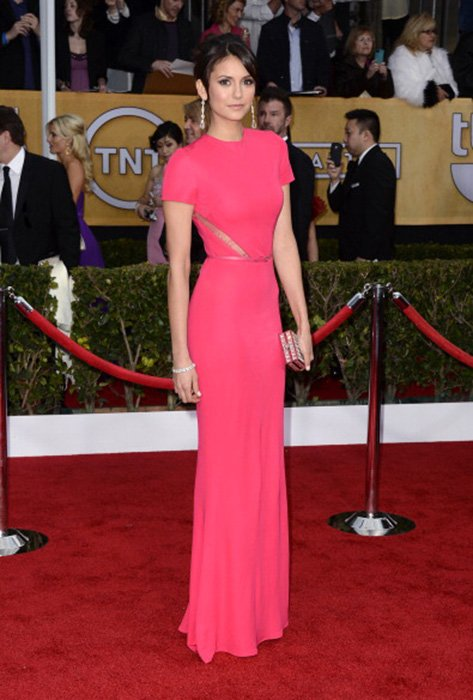 LOS ANGELES, CA - JANUARY 27:  Actress Nina Dobrev arrives at the 19th Annual Screen Actors Guild Awards held at The Shrine Auditorium on January 27, 2013 in Los Angeles, California.  (Photo by Frazer Harrison/Getty Images)