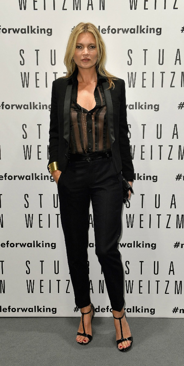 Kate-Moss-wore-black-suit-sheer-blouse