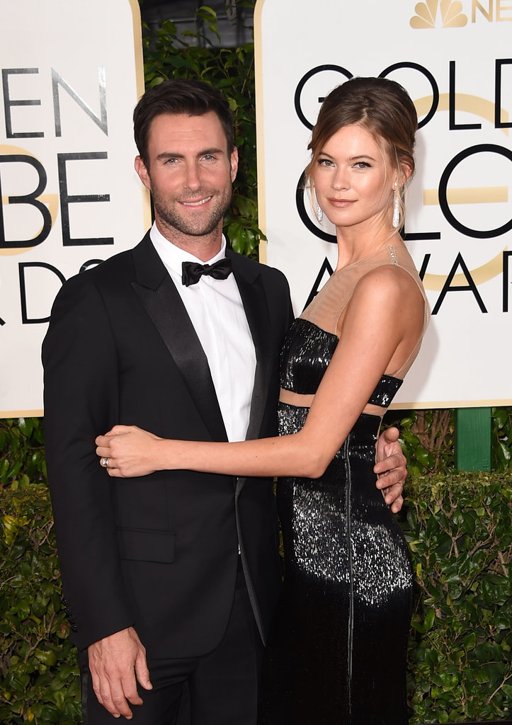 Behati-kept-her-arms-around-Adam-when-attended-Golden-Globes