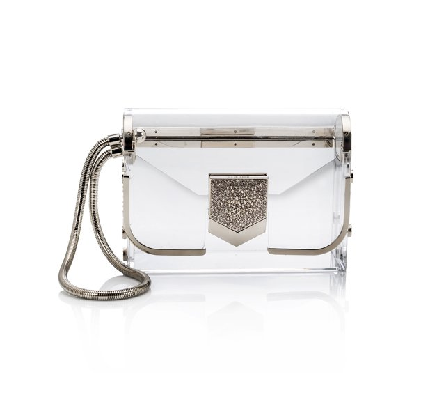 LOCKETT MINAUDIERE-ACRYLIC W CRYSTAL LOCK-TRANSPARENT