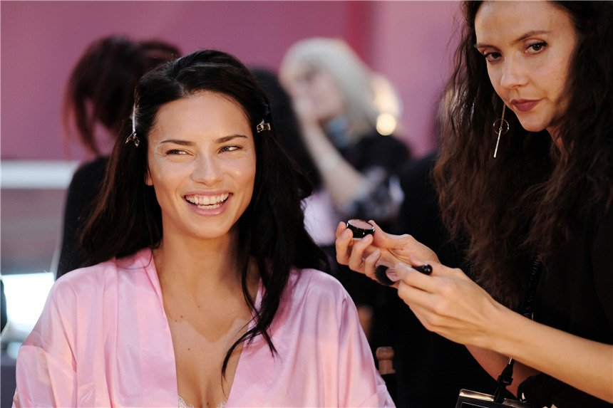 PARIS, FRANCE - NOVEMBER 30: Adriana Lima has her Hair & Makeup done prior the 2016 Victoria's Secret Fashion Show on November 30, 2016 in Paris, France. (Photo by Dimitrios Kambouris/Getty Images for Victoria's Secret)
